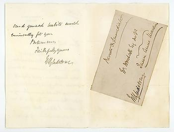 WILLIAM EWART GLADSTONE (1809-1898) Autograph Letter Signed