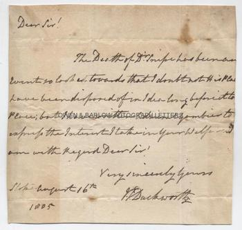 SIR JOHN DUCKWORTH (1747-1817) Autograph Letter Signed