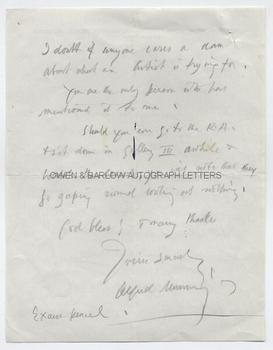 ALFRED MUNNINGS (1878-1959) Autograph Letter Signed