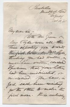 AMELIA EDWARDS (1831-1892) Autograph Letter Signed