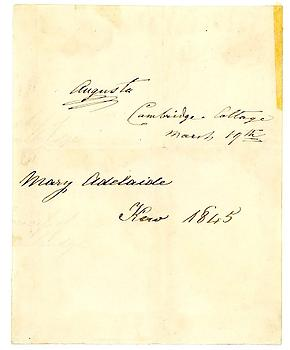 PRINCESS AUGUSTA (1822-1916) & PRINCESS MARY ADELAIDE (1833-1897) Signatures of both