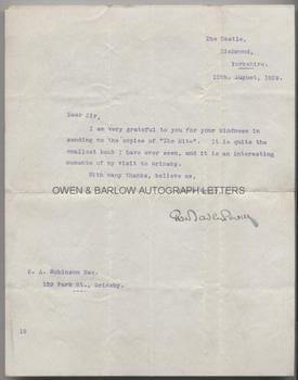 ROBERT BADEN-POWELL (1857-1941) Typed Letter Signed