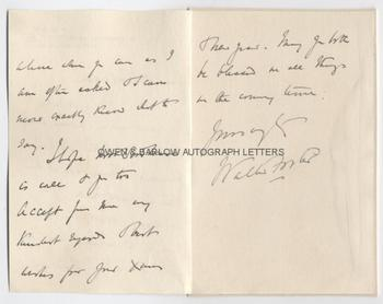 SIR B. WALTER FOSTER (1840-1913) Autograph Letter Signed