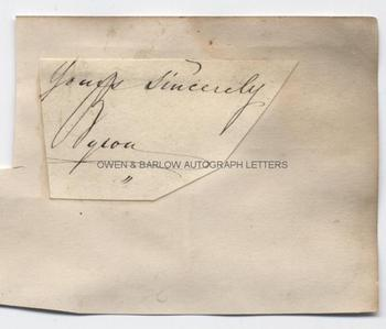 LORD BYRON (1788-1824) Autograph Signature