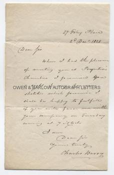 CHARLES BARRY (1795-1860) Autograph Letter Signed