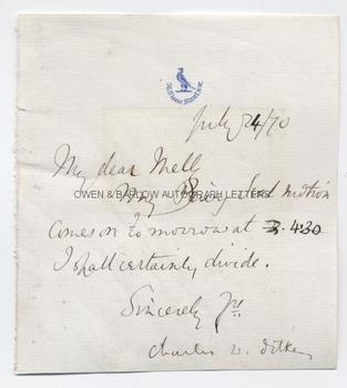 CHARLES DILKE (1843-1911) Autograph Letter Signed
