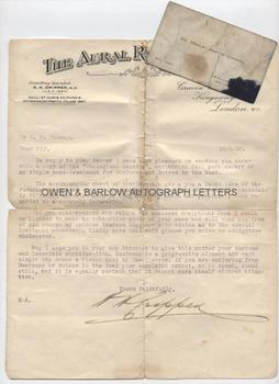 DR CRIPPEN (1862-1910) Typed Letter Signed