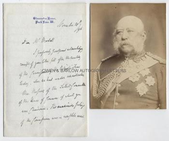 PRINCE GEORGE DUKE OF CAMBRIDGE (1819-1904) Autograph Letter Signed