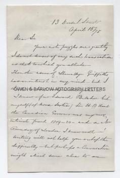 ADMIRAL SIR EDWARD BELCHER (1799-1877) Autograph Letter Signed