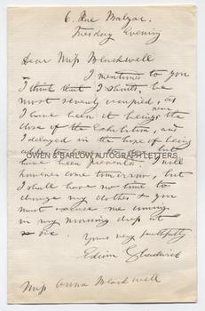 SIR EDWIN CHADWICK (1800-1890) Autograph Letter Signed
