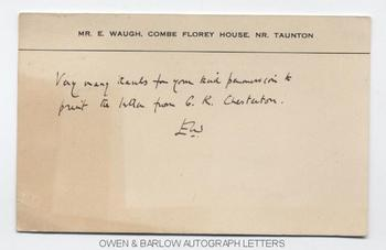 EVELYN WAUGH (1903-1966) Autograph Post-Card Signed