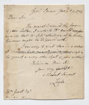 FRANCIS OSBORNE, 5th DUKE OF LEEDS (1751-1799) Autograph Letter Signed