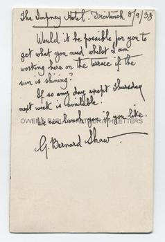 GEORGE BERNARD SHAW Autograph Letter Signed With Archive of Related Documents