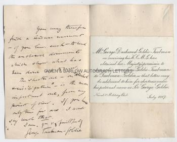 GEORGE TAUBMAN GOLDIE (1846-1925) Autograph Letter Signed