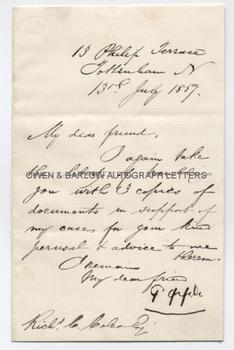 GEORGE PEPPLE (1849-1888) Letter Signed
