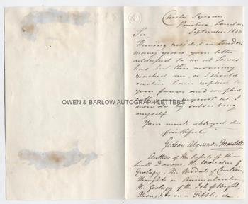 GIDEON MANTELL (1790-1852) Autograph Letter Signed