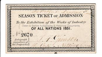 THE GREAT EXHIBITION (1851) Exhibitors Season Ticket