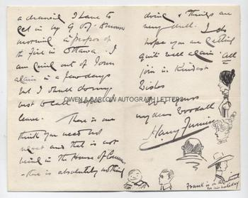 HARRY FURNISS (1854-1925) Autograph Letter Signed