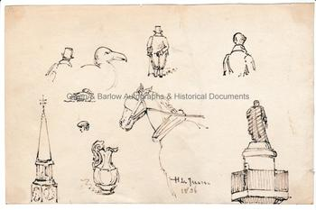 HENRY LE JEANE (1819-1904) Sheet of ink drawings, Signed