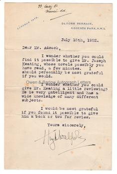HUGH WALPOLE (1884-1941) Typed Letter Signed