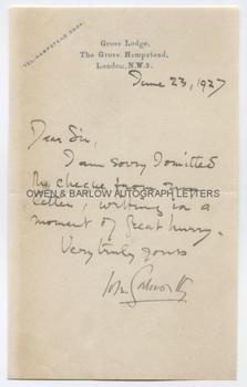 JOHN GALSWORTHY (1867-1933) Autograph Letter Signed