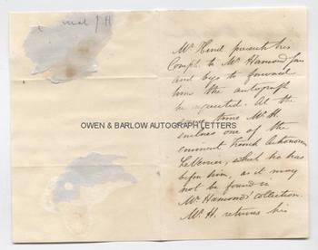 URBAIN LE VERRIER (1811-1877) & JOHN RUSSELL HIND (1823-1895) Autograph Letter & Envelope Signed