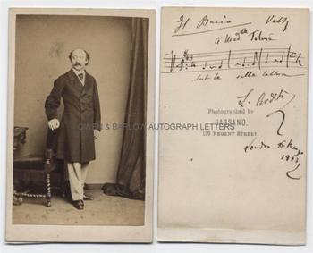 LUIGI ARDITI (1822-1903) Autograph Musical Quotation on Photograph