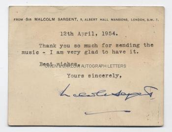SIR MALCOLM SARGENT (1895-1967) Typed P/C with Autograph Signature