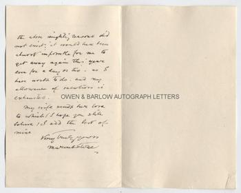 MARCUS STONE (1840-1921) Autograph Letter Signed
