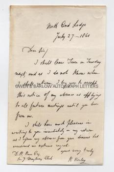 ROBERT KEELEY (1793-1869) Autograph Letter Signed