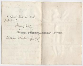 SIR HENRY ROSCOE (1833-1915) Autograph Letter Signed