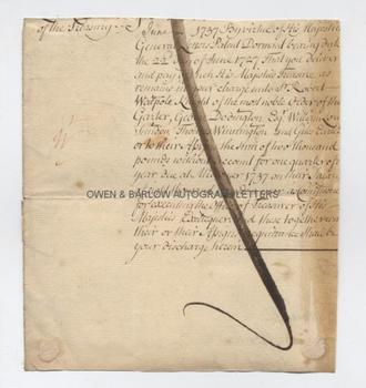 SIR ROBERT WALPOLE (1676-1745) Document Signed