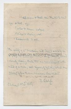THOMAS CARLYLE (1795-1881) Autograph Letter Signed