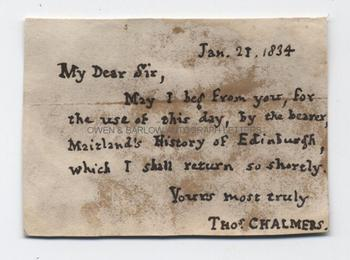 THOMAS CHALMERS (1780-1847) Autograph Letter Signed