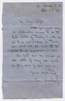 THOMAS WOOLNER (1825-1892) Autograph Letter Signed