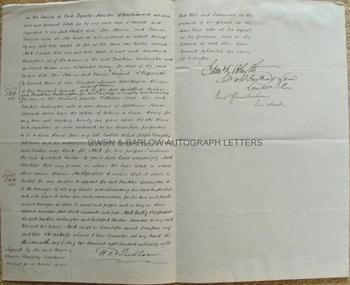 THE TICHBORNE CLAIMANT Roger Tichborne aka Arthur Orton (1834-1898) Codicil to his will, signed