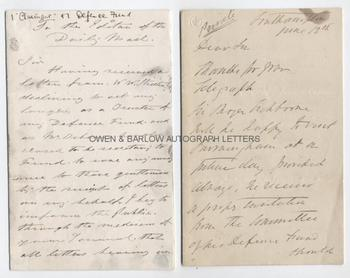 THE TICHBORNE CLAIMANT Roger Tichborne aka Arthur Orton (1834-1898) Autograph Letter Signed