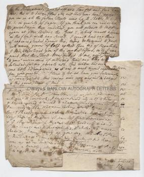 WILLIAM BOWYER (1699-1777) Autograph Letter Signed