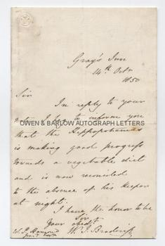 WILLIAM BRODERIP (1789-1859) Autograph Letter Signed LONDON ZOOLOGICAL GARDENS.