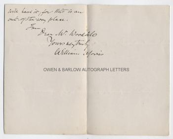WILLIAM MORRIS (1834-1896) Autograph Letter Signed