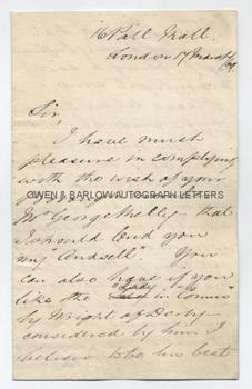 SIR WILLIAM RATHBONE (1819-1902) Autograph Letter Signed