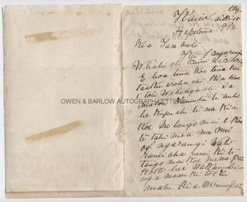NEW ZEALAND HAU HAU WAR (1864-5) WINIATA WIREMU PATENE Autograph Letter Signed