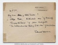 EDWARD THOMAS (1878-1917) Autograph Note Signed