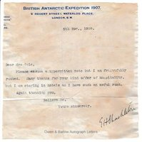 ERNEST SHACKLETON (1874-1922) Typed Letter Signed