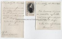 PRINCESS FRANCOISE OF ORLEANS (1844-1925) Two Autograph Letters Signed