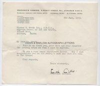 FREDERICK GIBBERD (1908-1984) Typed Letter Signed