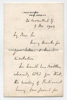 H. H. ASQUITH (1852-1928) Autograph Letter Signed