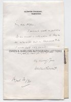 WALTER BESANT (1836-1901) Autograph Letter Signed