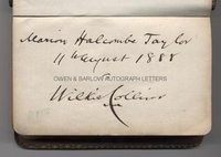 WILKIE COLLINS (1824-1889) Autograph inscription in Book