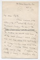 WILLIAM JAMES RUSSELL (1830-1909) Autograph Letter Signed